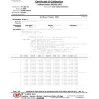 Datos de prueba de calibración Z540